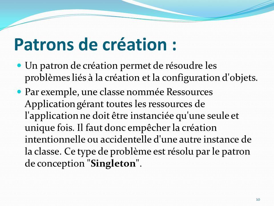 Patrons de création : Un patron de création permet de résoudre les problèmes liés à la création et la configuration d objets.