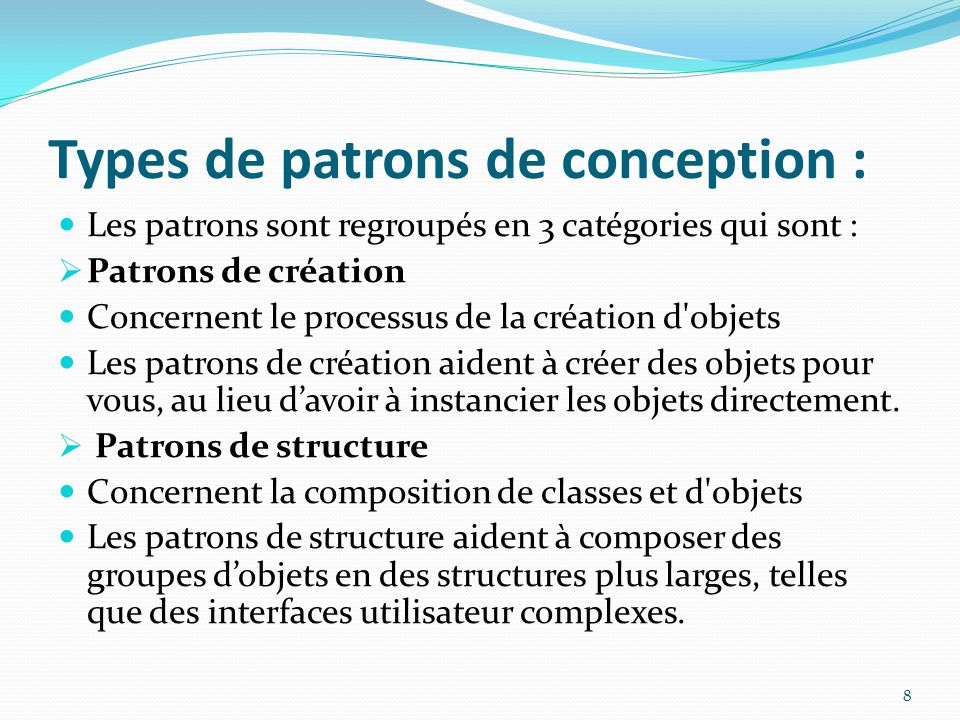 Types de patrons de conception :