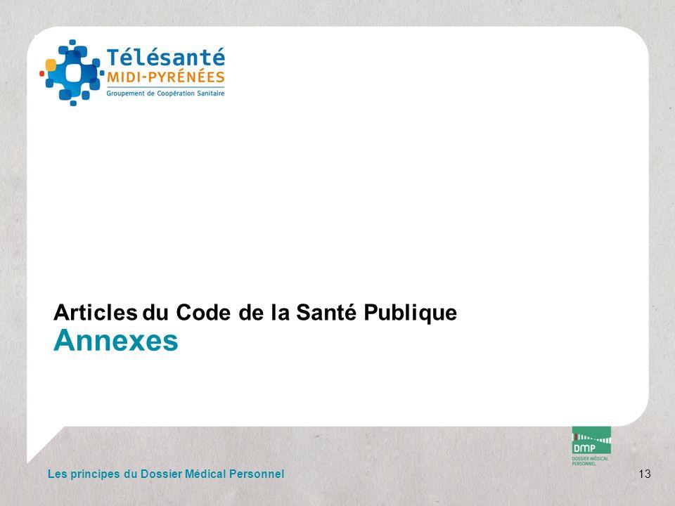 Annexes Articles du Code de la Santé Publique