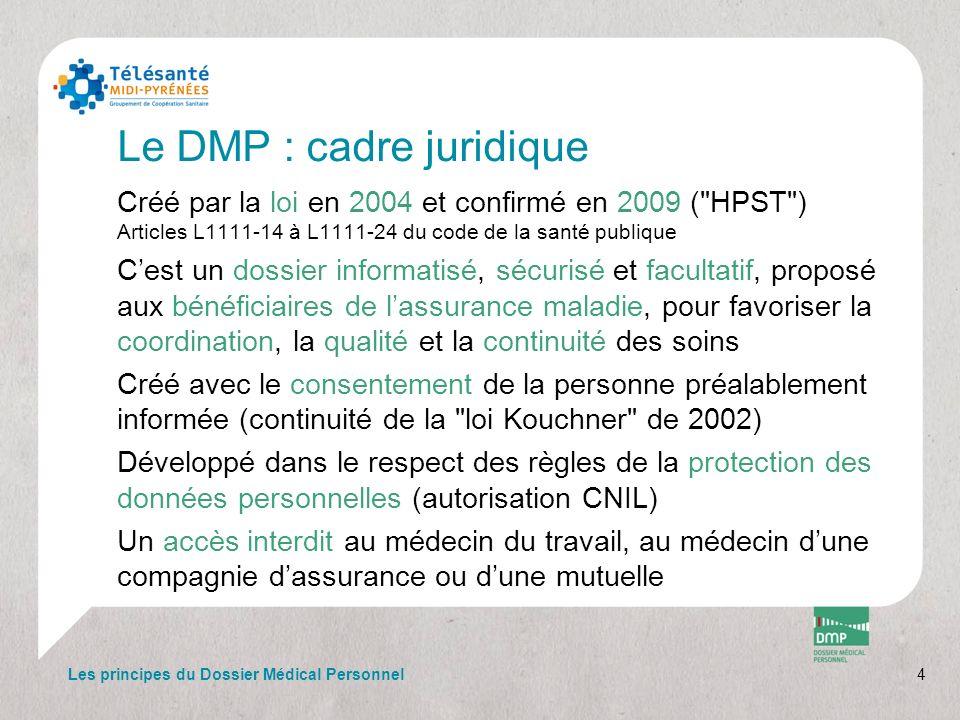 Le DMP : cadre juridique