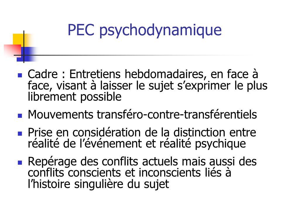 PEC psychodynamique Cadre : Entretiens hebdomadaires, en face à face, visant à laisser le sujet s'exprimer le plus librement possible.