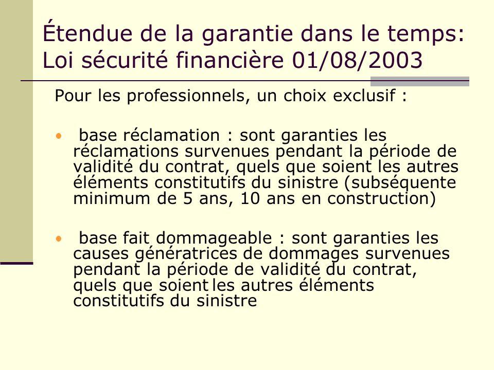 Étendue de la garantie dans le temps: Loi sécurité financière 01/08/2003