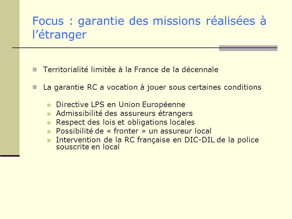 Focus : garantie des missions réalisées à l'étranger