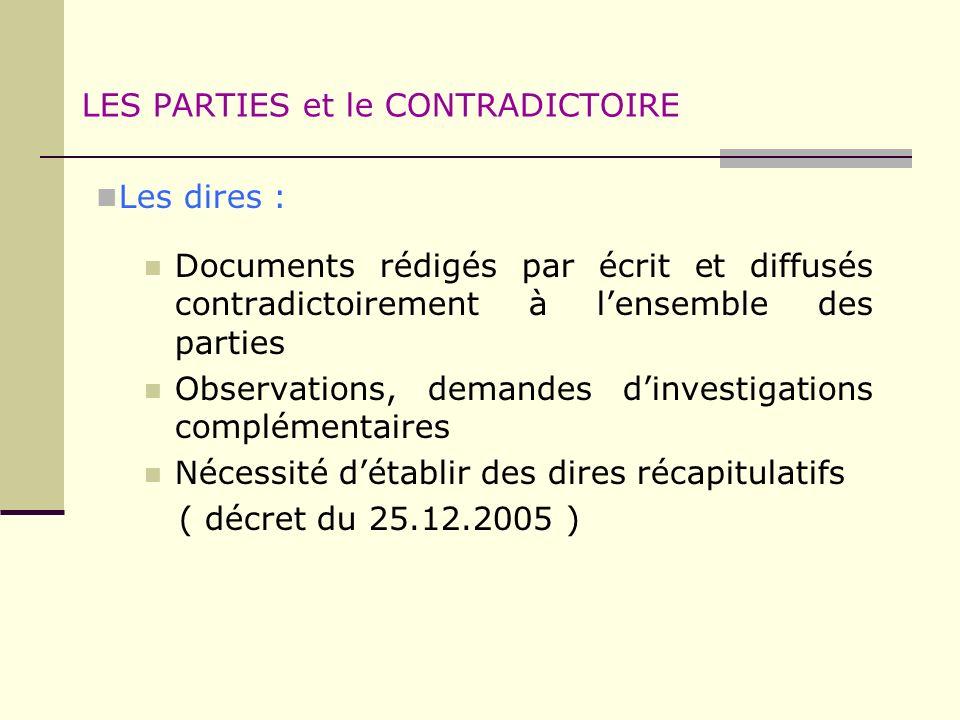 LES PARTIES et le CONTRADICTOIRE