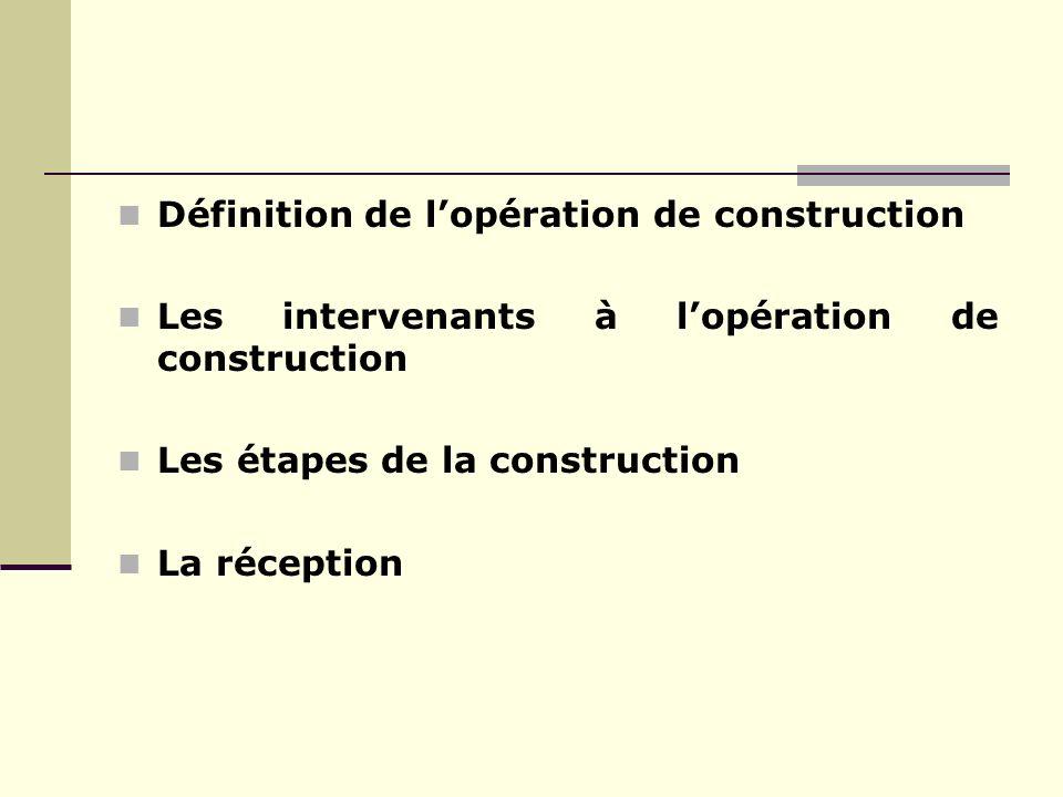 Définition de l'opération de construction