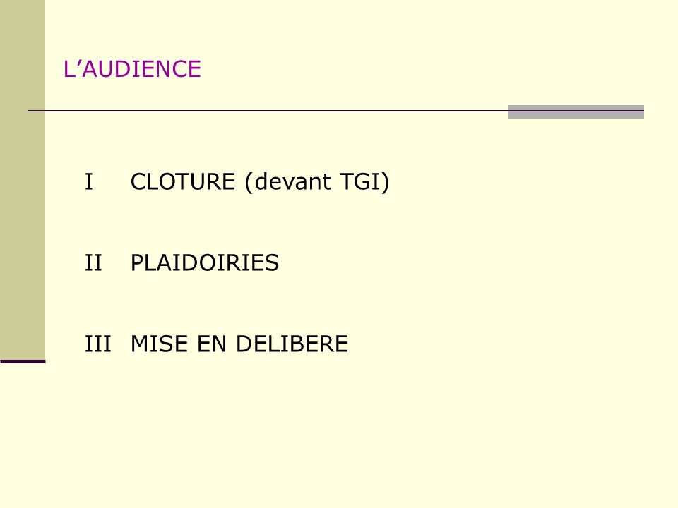 L'AUDIENCE I CLOTURE (devant TGI) II PLAIDOIRIES III MISE EN DELIBERE