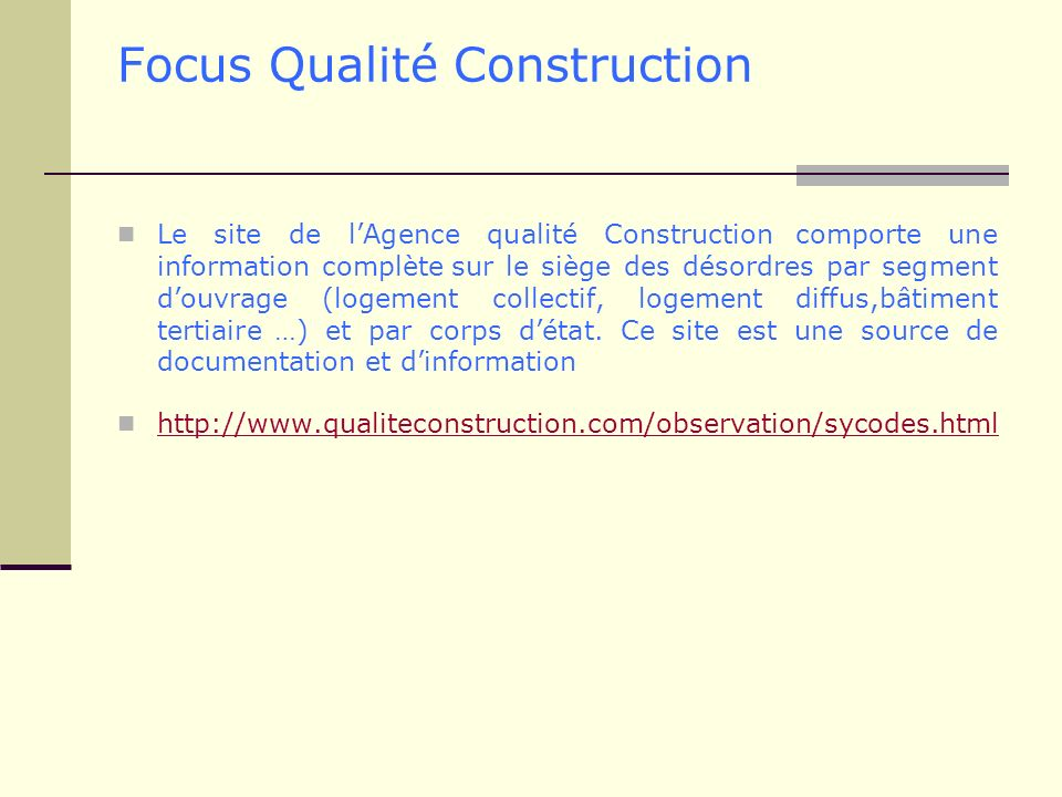 Focus Qualité Construction