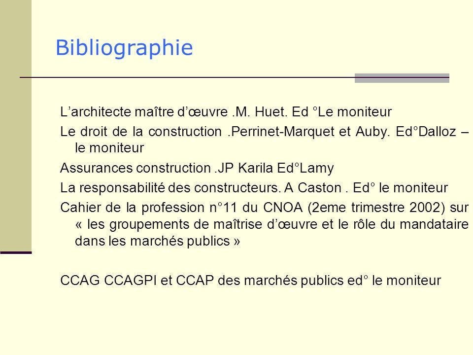 Bibliographie L'architecte maître d'œuvre .M. Huet. Ed °Le moniteur