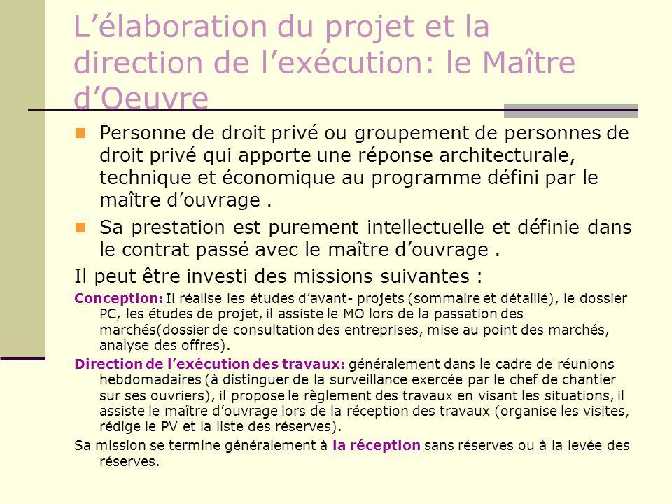 L'élaboration du projet et la direction de l'exécution: le Maître d'Oeuvre