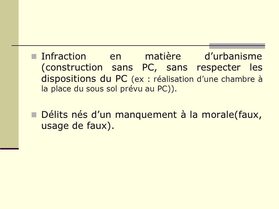 Infraction en matière d'urbanisme (construction sans PC, sans respecter les dispositions du PC (ex : réalisation d'une chambre à la place du sous sol prévu au PC)).