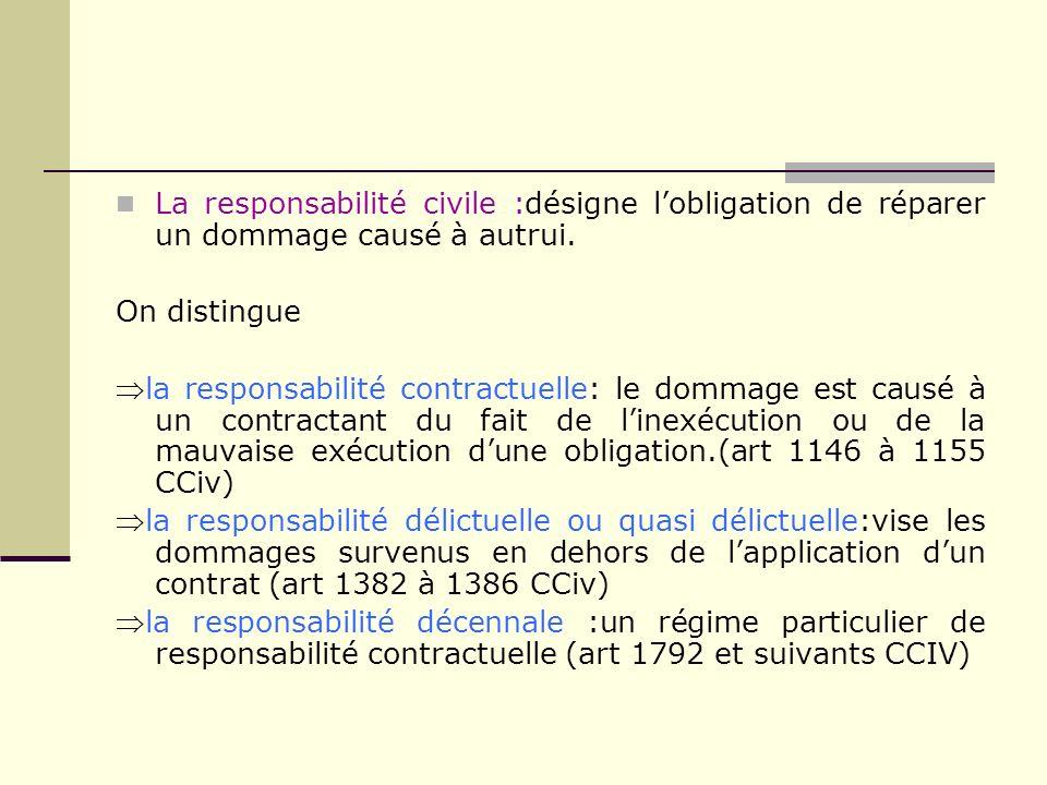 La responsabilité civile :désigne l'obligation de réparer un dommage causé à autrui.