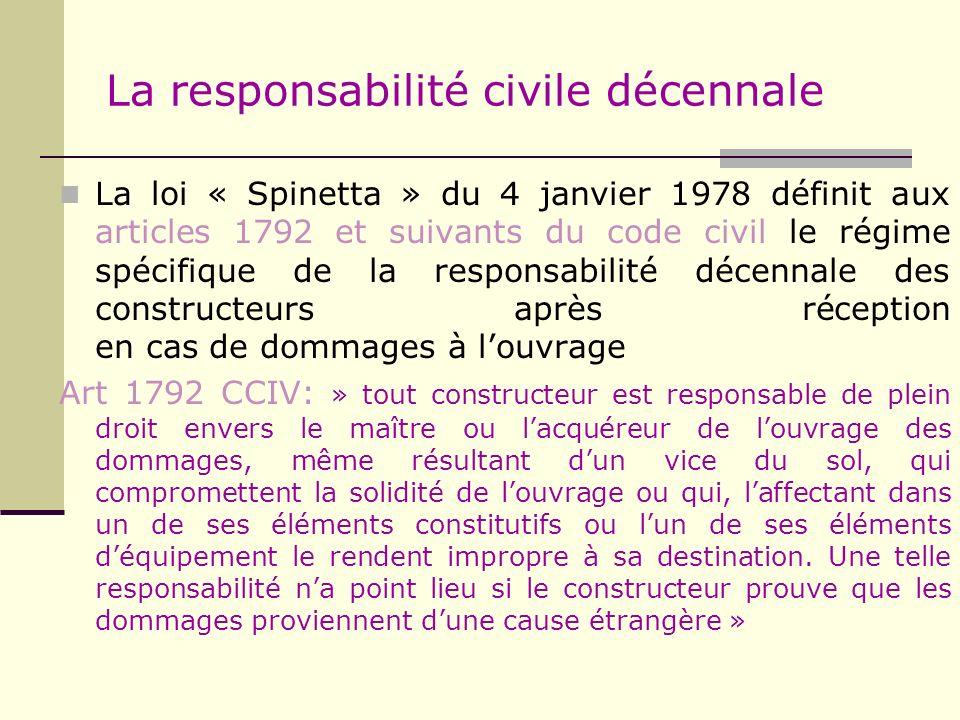 La responsabilité civile décennale