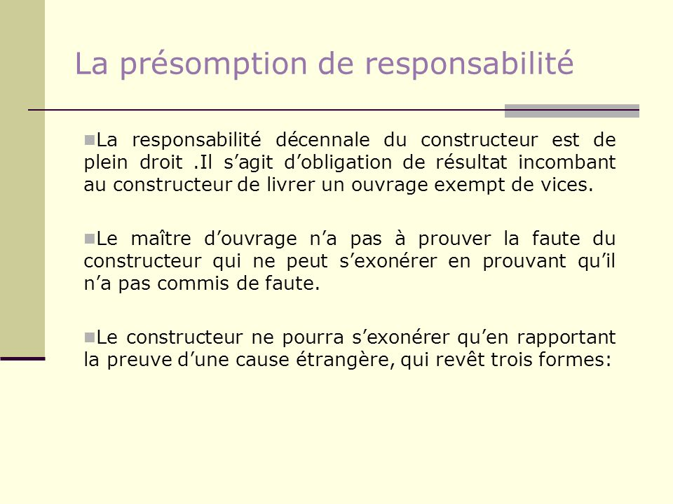 La présomption de responsabilité