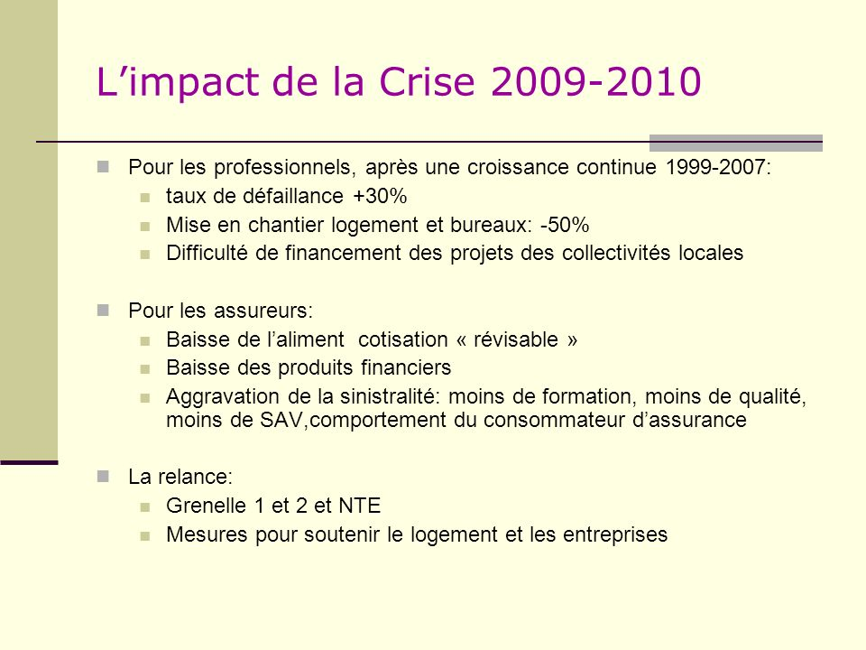 L'impact de la Crise 2009-2010 Pour les professionnels, après une croissance continue 1999-2007: taux de défaillance +30%
