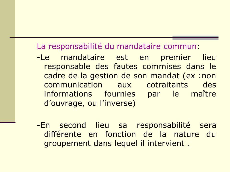 La responsabilité du mandataire commun: