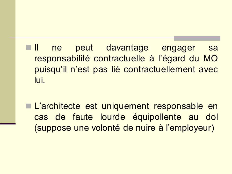 Il ne peut davantage engager sa responsabilité contractuelle à l'égard du MO puisqu'il n'est pas lié contractuellement avec lui.