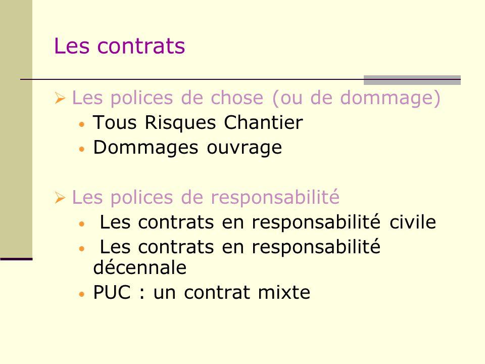 Les contrats Les polices de chose (ou de dommage)