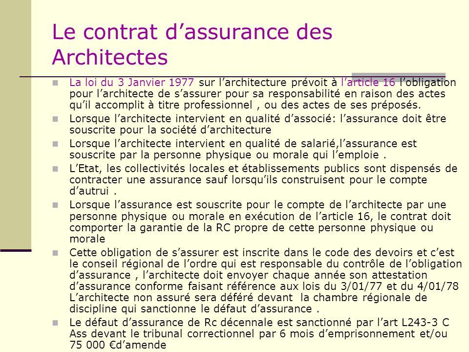 Le contrat d'assurance des Architectes