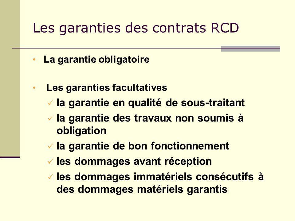Les garanties des contrats RCD