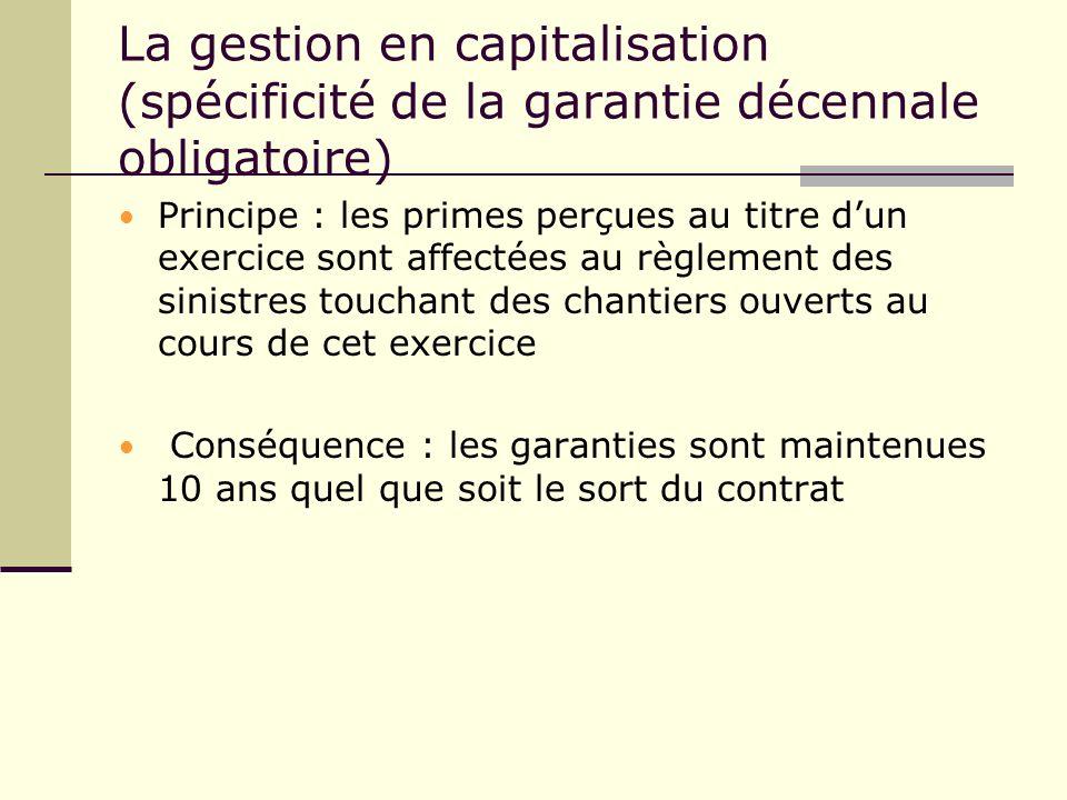 La gestion en capitalisation (spécificité de la garantie décennale obligatoire)
