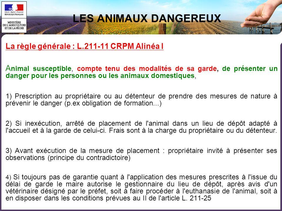 LES ANIMAUX DANGEREUX La règle générale : L.211-11 CRPM Alinéa I
