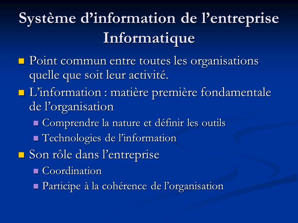 Système d'information de l'entreprise Informatique