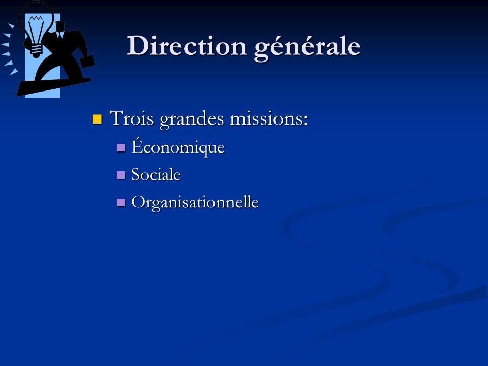 Direction générale Trois grandes missions: Économique Sociale