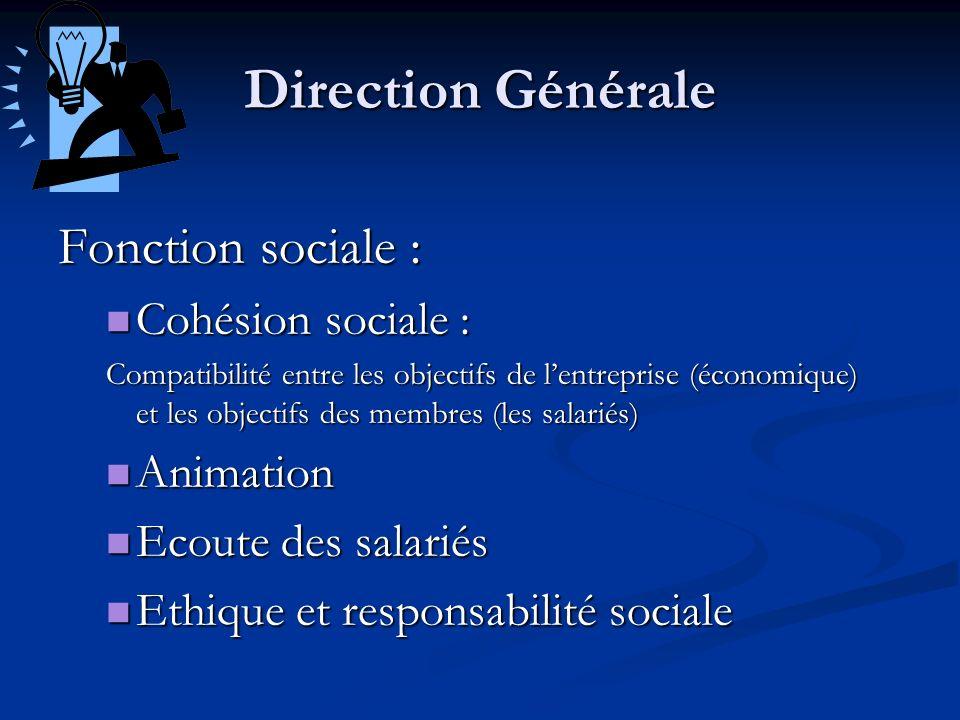 Direction Générale Fonction sociale : Cohésion sociale : Animation