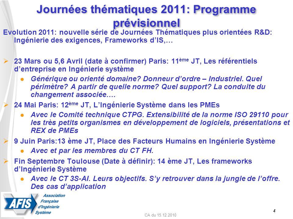 Journées thématiques 2011: Programme prévisionnel