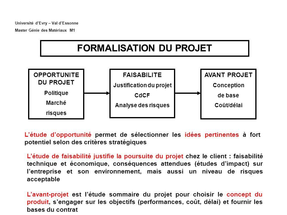 FORMALISATION DU PROJET Justification du projet