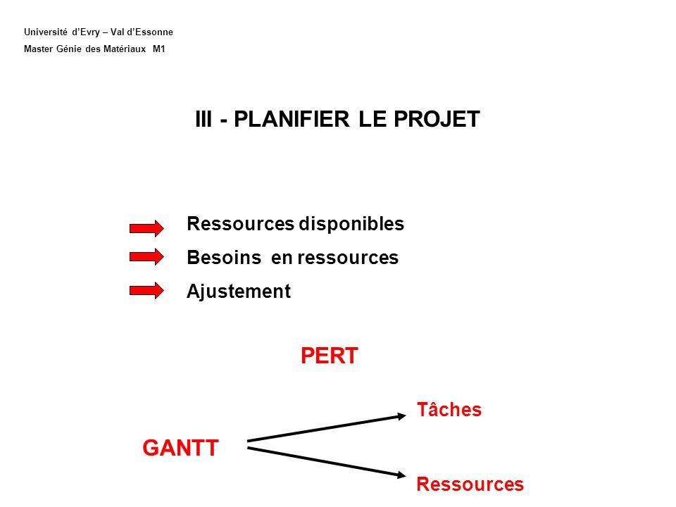 III - PLANIFIER LE PROJET
