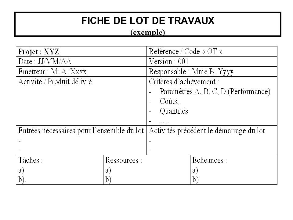 FICHE DE LOT DE TRAVAUX (exemple)