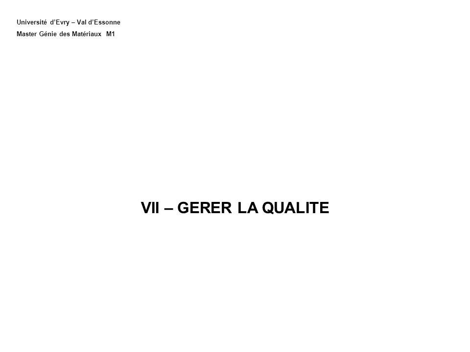 VII – GERER LA QUALITE Université d'Evry – Val d'Essonne