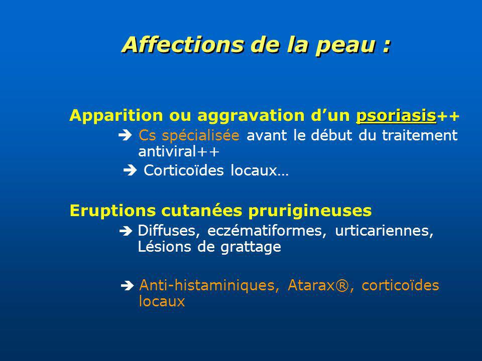 Affections de la peau : Apparition ou aggravation d'un psoriasis++