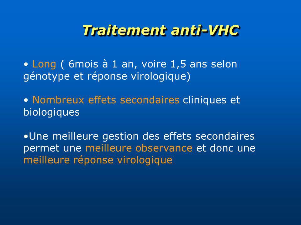 Traitement anti-VHCLong ( 6mois à 1 an, voire 1,5 ans selon génotype et réponse virologique) Nombreux effets secondaires cliniques et biologiques.