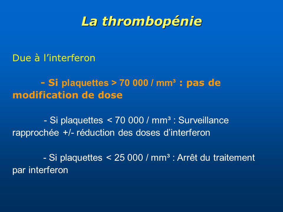 La thrombopénie Due à l'interferon