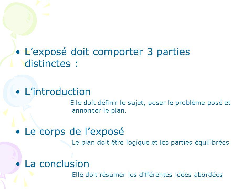 L'exposé doit comporter 3 parties distinctes :