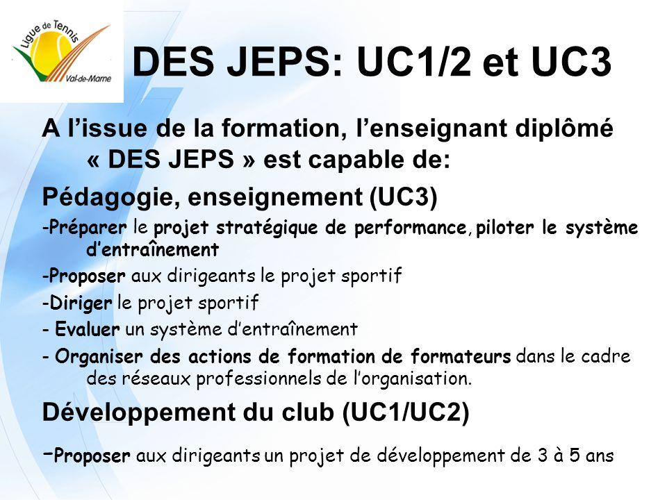 DES JEPS: UC1/2 et UC3 A l'issue de la formation, l'enseignant diplômé « DES JEPS » est capable de:
