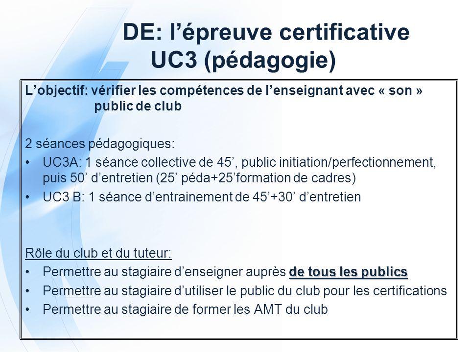 DE: l'épreuve certificative UC3 (pédagogie)