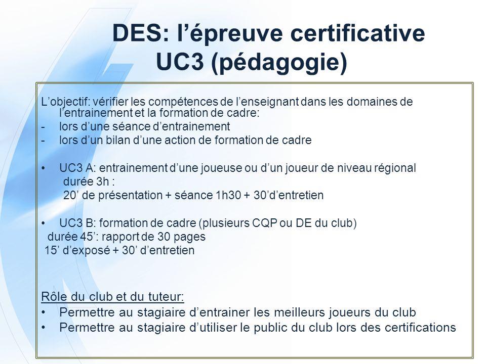 DES: l'épreuve certificative UC3 (pédagogie)