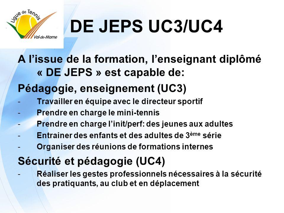 DE JEPS UC3/UC4 A l'issue de la formation, l'enseignant diplômé « DE JEPS » est capable de: Pédagogie, enseignement (UC3)