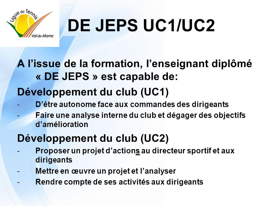 DE JEPS UC1/UC2A l'issue de la formation, l'enseignant diplômé « DE JEPS » est capable de: Développement du club (UC1)