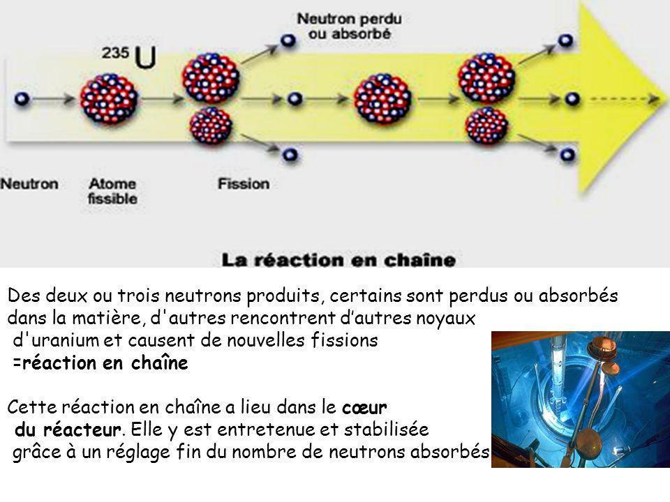 Des deux ou trois neutrons produits, certains sont perdus ou absorbés dans la matière, d autres rencontrent d'autres noyaux