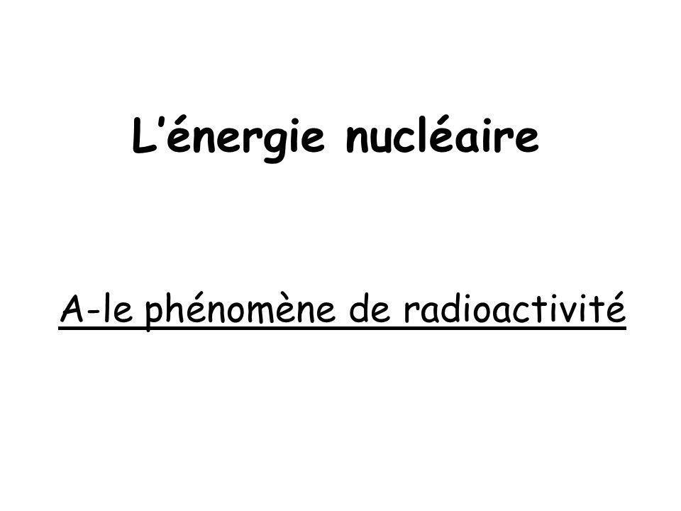 L'énergie nucléaire A-le phénomène de radioactivité