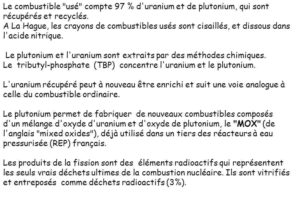 Le combustible usé compte 97 % d uranium et de plutonium, qui sont récupérés et recyclés.