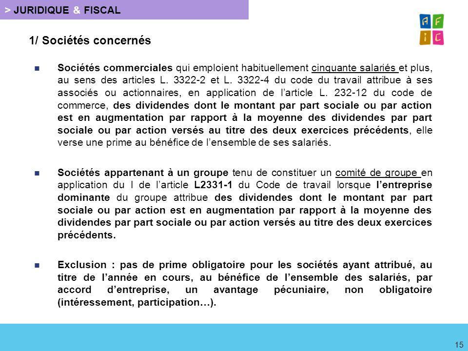 1/ Sociétés concernés