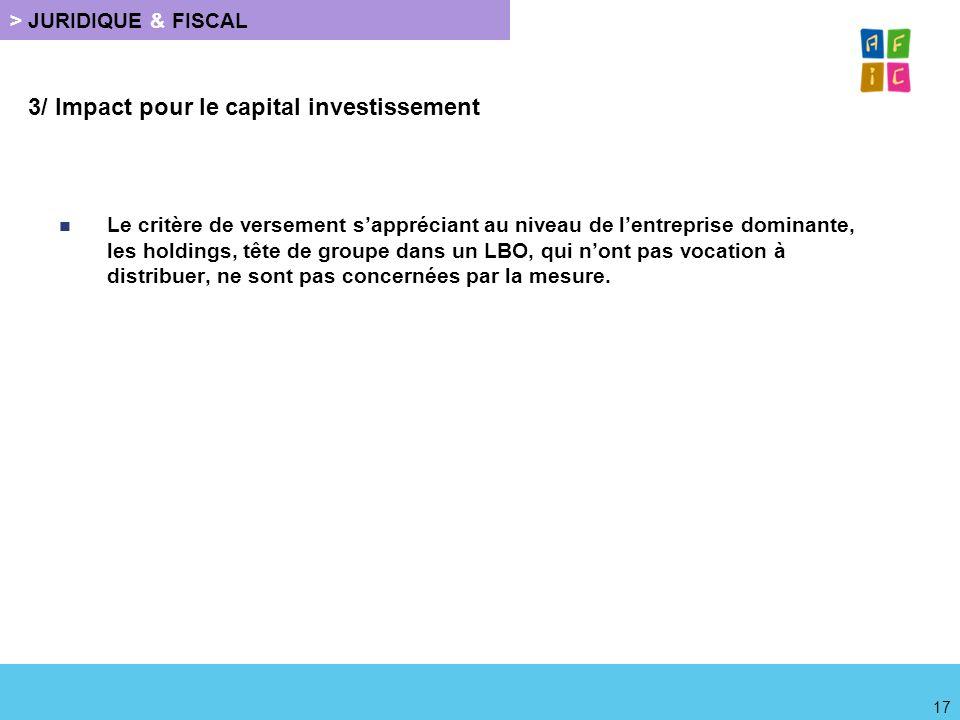 3/ Impact pour le capital investissement