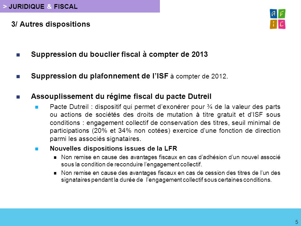 Suppression du bouclier fiscal à compter de 2013