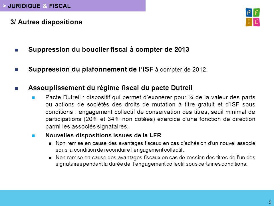 Suppression du bouclier fiscal à compter de 2013