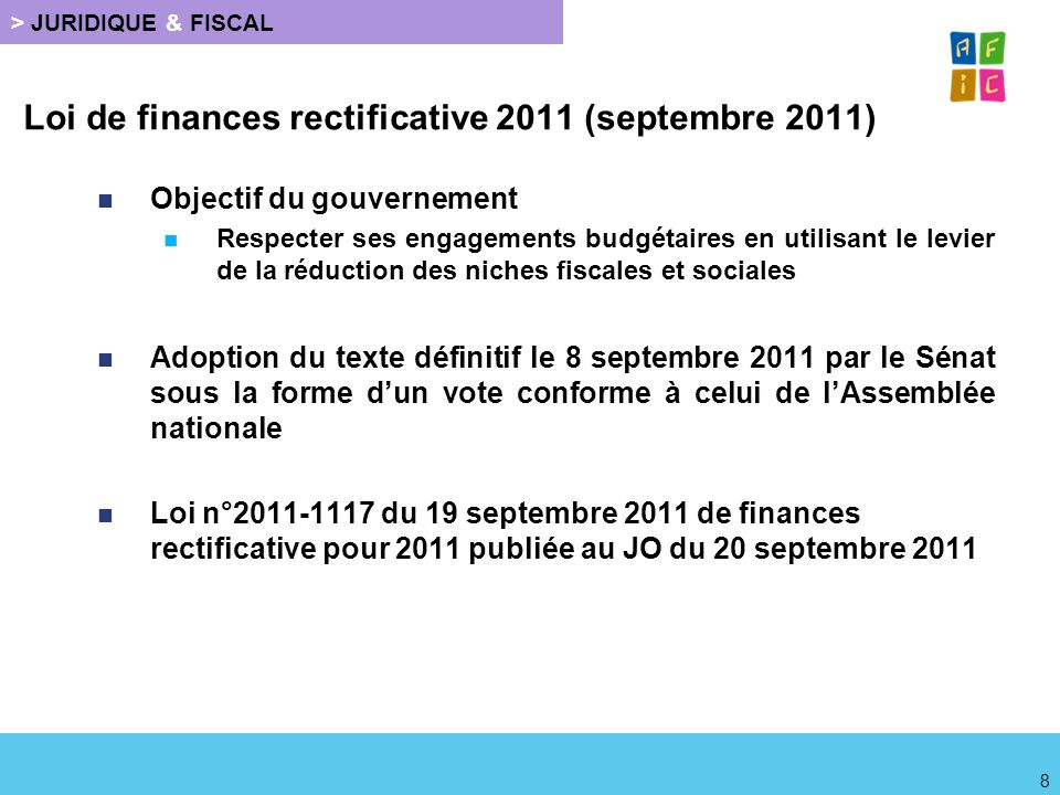 Loi de finances rectificative 2011 (septembre 2011)